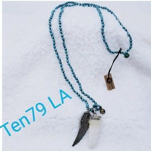 NWT Ten79 La turquoise beaded crystal necklace